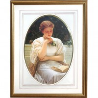 Gold Framed Woman Reading Picture