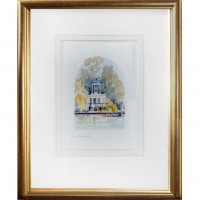 Gold Framed Temple Island Watercolor-Look Pictures