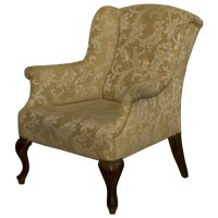 Ex Hotel Traditional Style Arm Chair on Two Tone Beige Fabric