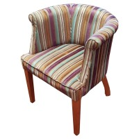 Ex Hotel Striped Upholstered Tub Chair