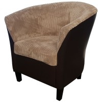 EX-Display Fabric and Faux Leather Tub Chair