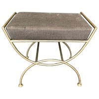 Gold Painted Metal Low Stool