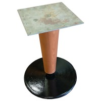 Used table base, round cast iron base with large wooden pedestal, dining height