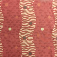 Used Curtain Pair Red Modern Wavey Decorative Pattern