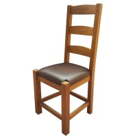 Used solid wood side chair with reupholstered brown faux leather seat