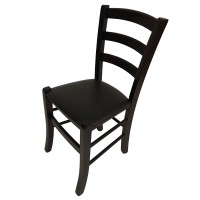 Restaurant Dining Chair with Black Faux Leather Seat Pad