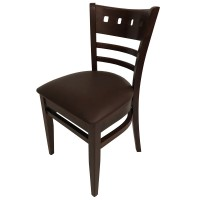 Restaurant Dining Chair with Walnut Frame and Brown Faux Leather Seat Pad
