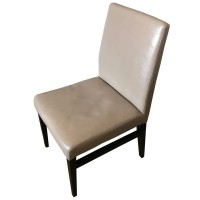 Restaurant Dining Chair in Cream Leather