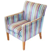 Ex Hotel Striped Upholstered Large Square Tub Chair