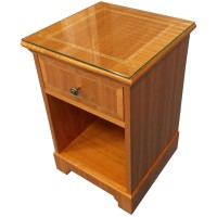 Luxury Hotel Glass Topped Bedside Cabinets
