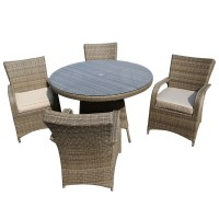 Maldives Natural 4 Seater Rattan Outdoor Dining Set