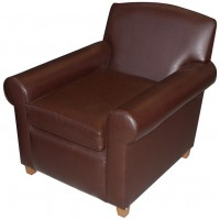 Brown Faux Leather Tub Chairs