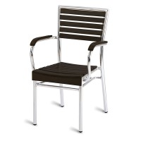 Paphos Outdoor Slatted Armchair Dark