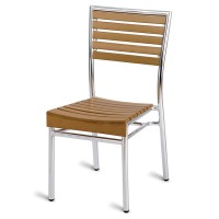 Paphos Outdoor Slatted Side Chair Teak Effect