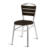 Paphos Outdoor Slatted Side Chair Round, Dark