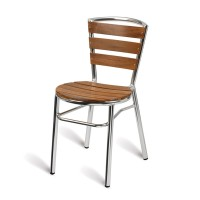 Paphos Outdoor Slatted Side Chair Round, Teak Solid Wood