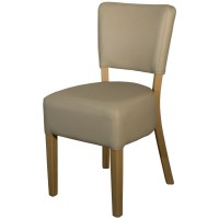 Ohio Beige Faux Leather Side Chair - Light Leg