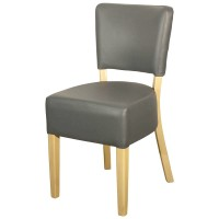 Ohio Grey Faux Leather Side Chair - Light Leg