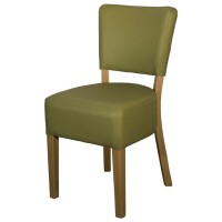 Ohio Pistachio Faux Leather Side Chair - Light Leg