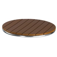 Outdoor Table Top Slatted Plastic Natural Top 70cm Round