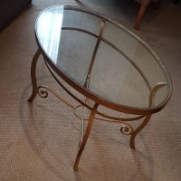 Used Glass Top Gold Painted Coffee Table