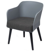 Poppy Tub Chair Grey Tub with Black Legs