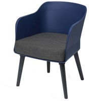 Poppy Tub Chair Blue Tub with Black Legs