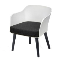 Poppy Tub Chair White Tub with Black Legs