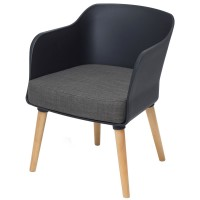Poppy Tub Chair Black Tub with Natural Wood Legs