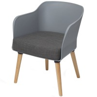 Poppy Tub Chair Grey Tub with Natural Wood Legs