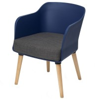 Poppy Tub Chair Blue Tub with Natural Wood Legs