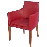 Repton Arm Chair Oak / Burgundy