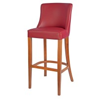 Repton Bar Stool Oak / Burgundy