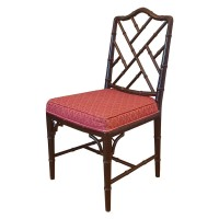 Solid Wood Side Chair with Red Seat