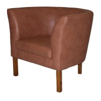 Britta Tub Chair - Tan Faux Leather