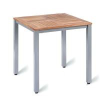 Outdoor Four Leg Table Aluminium Base & Teak Solid Wood Top 70cm Square
