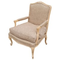 Traditional Lime Wash Solid Wood Upholstered Arm Chair