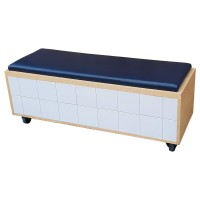 Bench with Padded Seat on Wheels