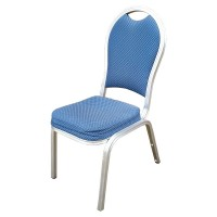 Silver and Blue Burgess Stackable Banquet Chairs