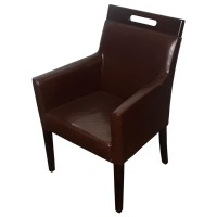 Used Dark Brown Faux Leather Armchairs
