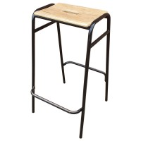 Classic Stools with Metal Frame and Wooden Seat