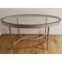 Ex Hotel Oval Glass Topped Drinks Table
