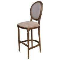 Used Ex Restaurant Louis Bar Stools - Beige Fabric