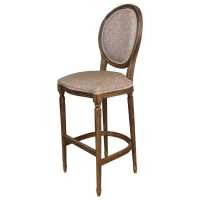 Used Ex Restaurant Louis Bar Stools - Pattered Beige Fabric