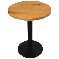 Joblot 5 Solid Oak Round Tables with Cast Iron Base