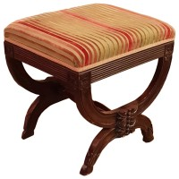 Ex Hotel Striped Upholstered Foot Stool