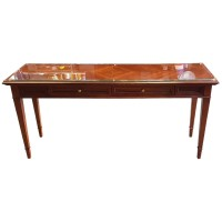 Used Traditional Wooden Desk Glass Topped