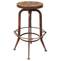 Vintage Bar Stool with Round Wooden Seat and Metal Frame