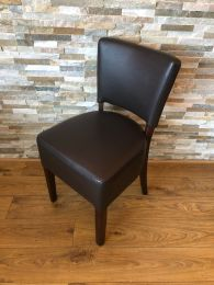 Used Restaurant Dining Chair in Brown Faux Leather