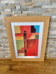 Ex-Hotel Light Wood Framed Abstract Picture